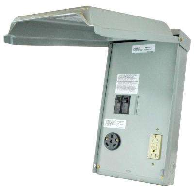 100 Amp 2-Space 2-Circuit 240-Volt Unmetered RV Outlet Box with 30 Amp and 20 Amp GCFI Circuit Protected Receptacles
