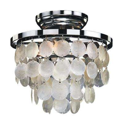 Bayside 3-Light Capiz Shell and Chrome Frame Flush Mount