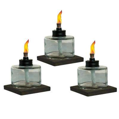 4 in. Mixed Material Votive Glass Table Torch Brown and Clear (3-Pack)