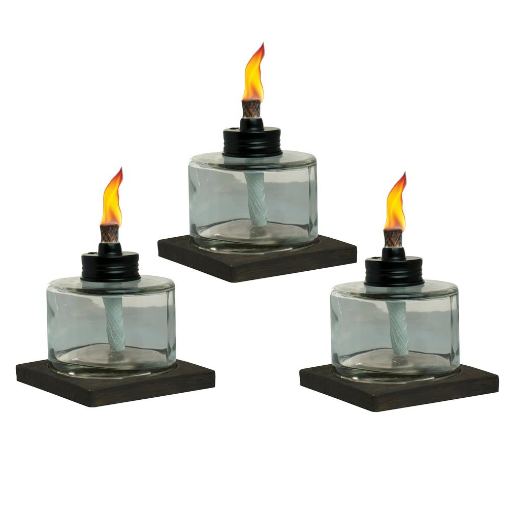 TIKI 4 In. Mixed Material Votive Glass Table Torch Brown And Clear (3