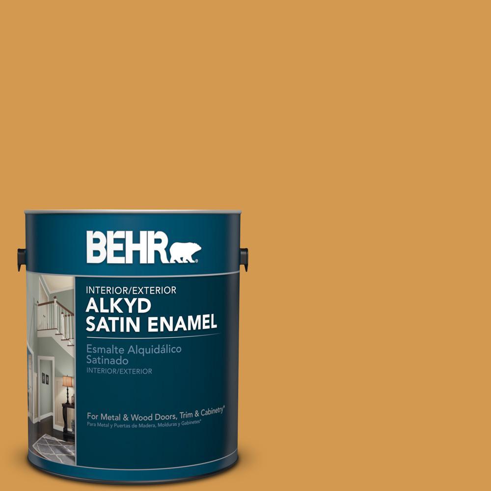 1 gal. #PPU6-2 Saffron Strands Satin Enamel Alkyd Interior/Exterior Paint