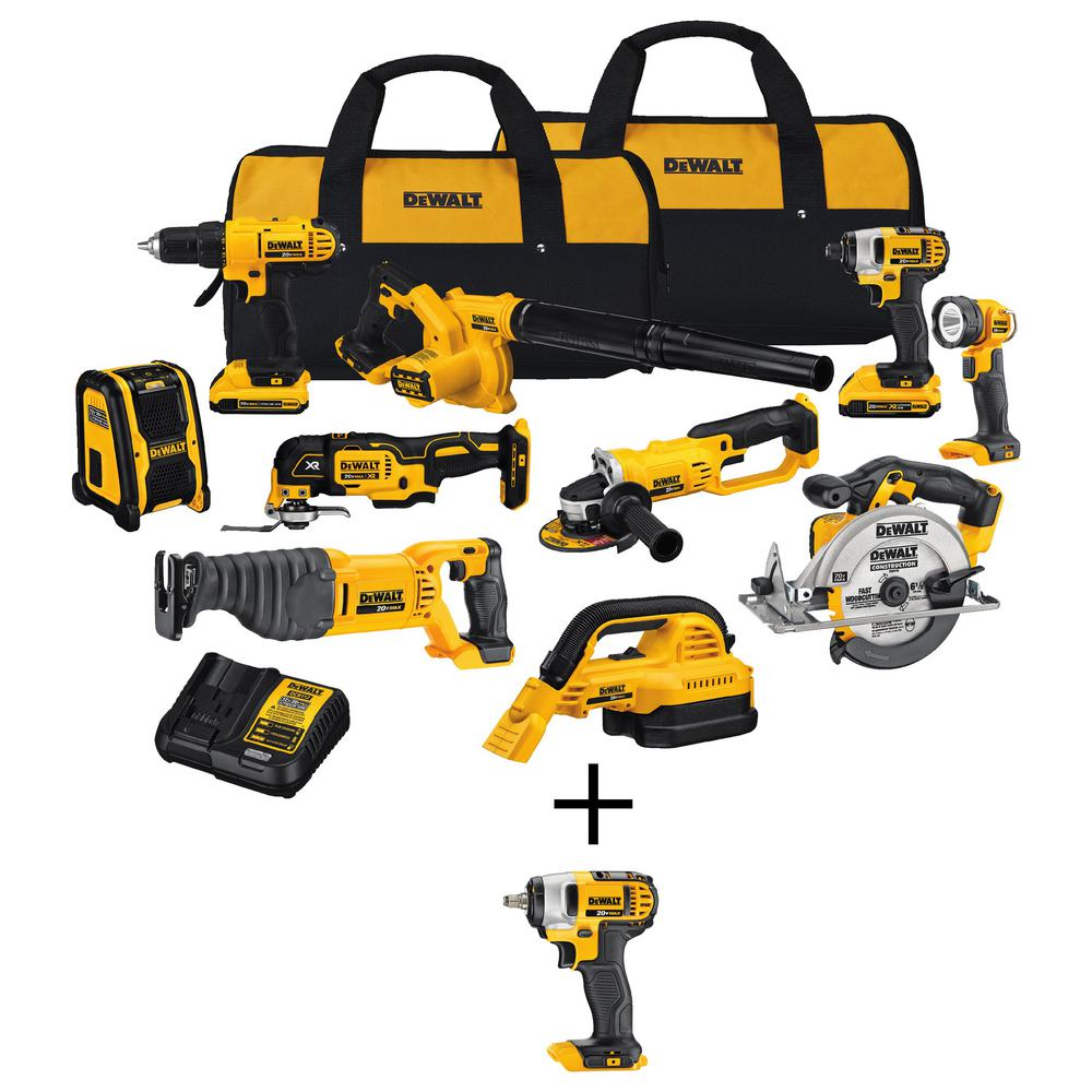DEWALT 20-Volt MAX Lithium-Ion Cordless Combo Kit (10-Tool) with 20-V Cordless 3/8in Impact Wrench with Hog Ring (Tool-Only)