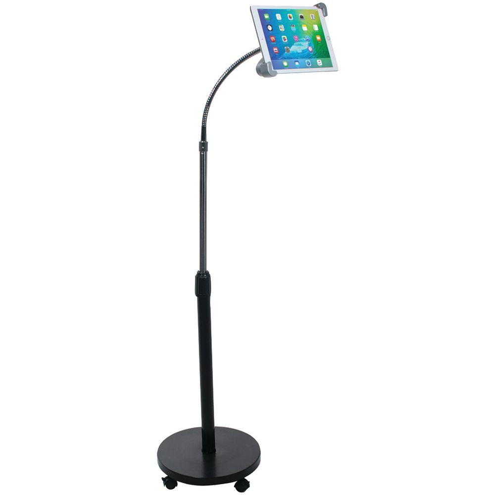 CTA iPad/Tablet Security Gooseneck Floor Stand, Black View your iPad or tablet in comfort with CTA Digital's iPad/Tablet Security Gooseneck Floor Stand. This lockable security mount with soft rubber accents offers you peace of mind knowing that your iPad or tablet is firmly cushioned in place, safe from being dropped or stolen. The gooseneck feature and adjustable height bar give you versatility when using your tablet, whether you need it while sitting, standing or even at a different orientation. Color: Black.