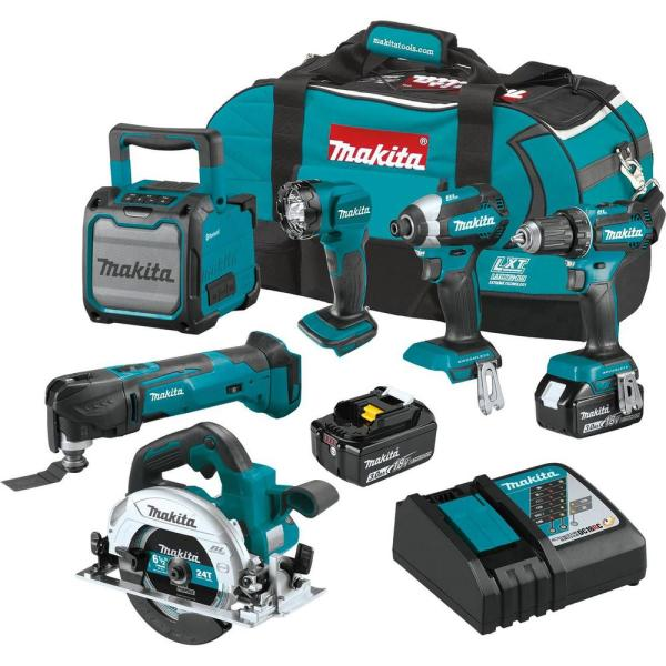 Makita 18-Volt LXT Lithium-Ion Cordless 6-Piece Kit (Driver-Drill/Impact Driver/Circular Saw/Multi-Tool/Radio/Light) 3.0A