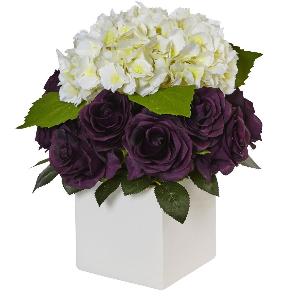 Indoor Hydrangea and Purple Rose Silk Arrangement in Ceramic Planter