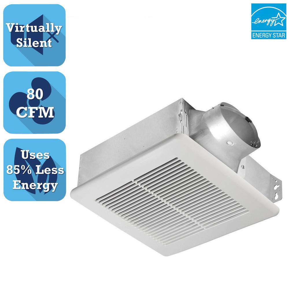 Slim Series 80 CFM Ceiling or Wall Exhaust Bath Fan