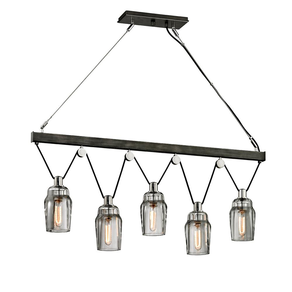 Troy Lighting Citizen 5-Light Graphite and Polished Nickel Linear Pendant with Clear Pressed Glass Shade