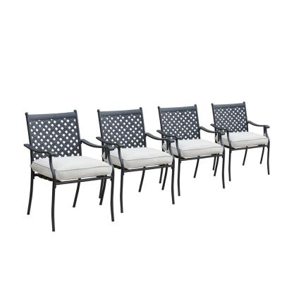 Metal Outdoor Dining Chair with Beige Cushion (4-Pack)