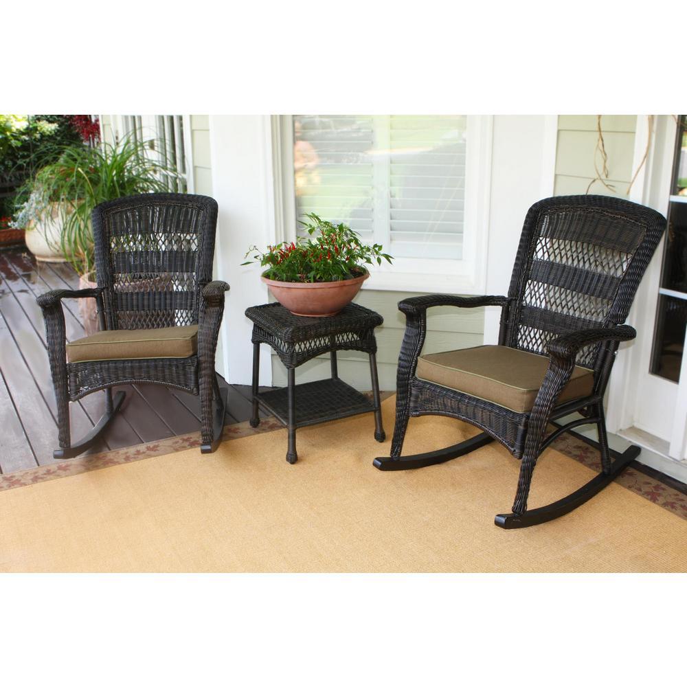 Tortuga Outdoor Portside Plantation Dark Roast 3 Piece Wicker Rocking Chair Set With Tan