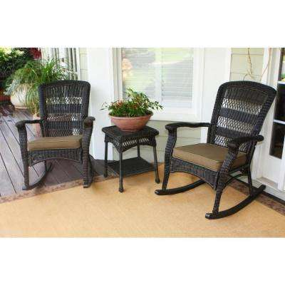 Portside Plantation Dark Roast 3-Piece Wicker Outdoor Rocking Chair Set with Tan Cushion