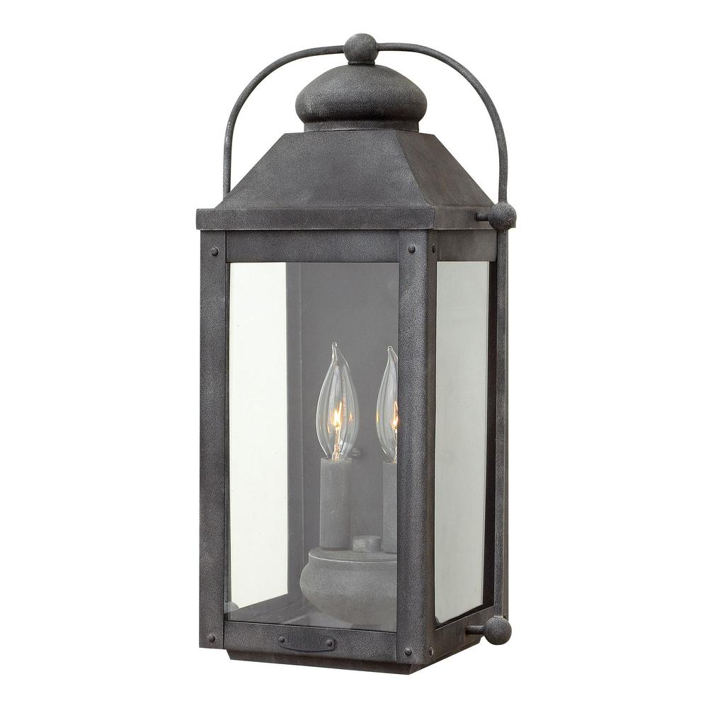 timeless design 3e513 17eb7 Hinkley Lighting Anchorage Medium 2-Light Aged Zinc Outdoor Wall Lantern  Sconce