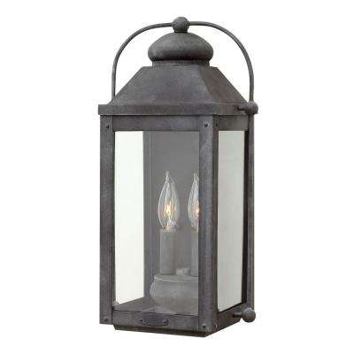 Anchorage Medium 2-Light Aged Zinc Outdoor Wall Lantern Sconce
