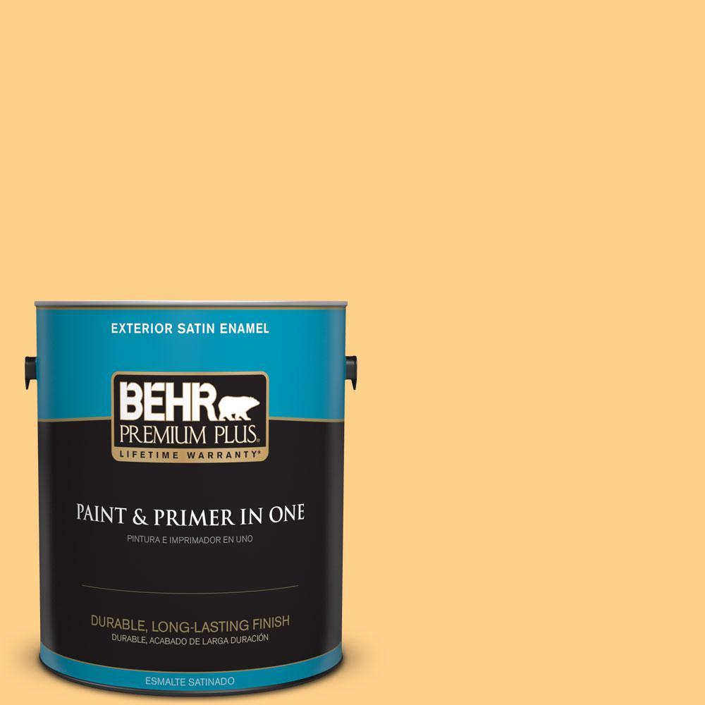 BEHR Premium Plus 1-gal. #300B-5 Honey Bird Satin Enamel Exterior Paint