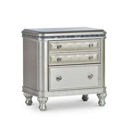 Midtown 2- Drawer Modern Silver Nightstand