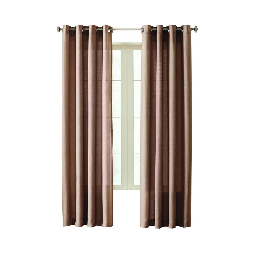 Home Decorators Collection Semi Opaque Mocha Hudson Grommet Curtain 50 In W X 63 In L