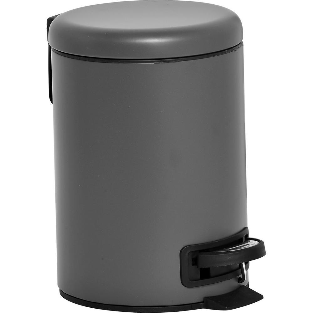 Nordic 3 l/0.8 Gal. Soft Close Small Round Metal Bath Floor Step Trash Can Waste Bin