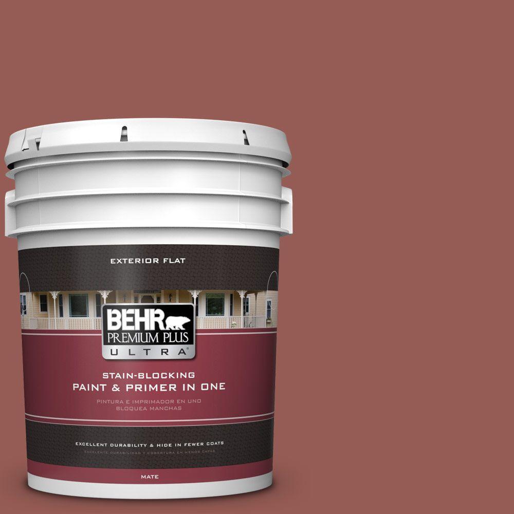 BEHR Premium Plus Ultra 5-gal. #ECC-34-3 Terra Cotta Sun Flat Exterior Paint