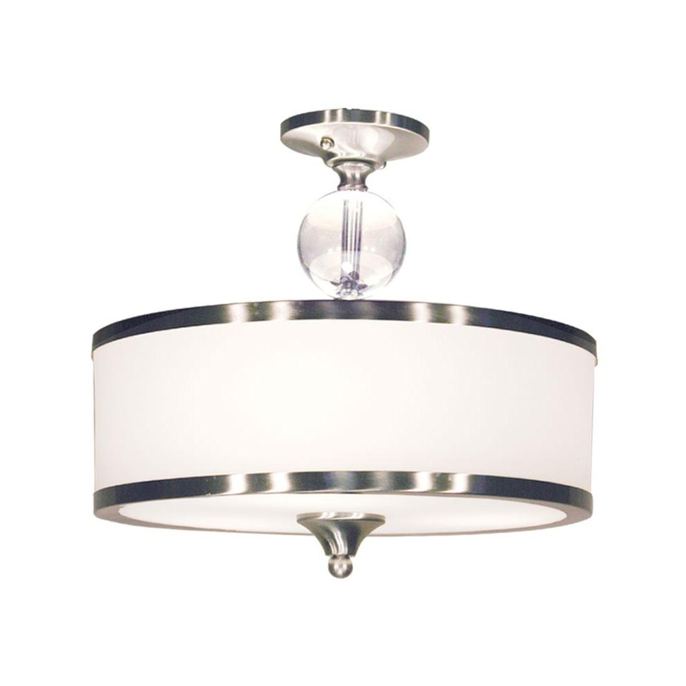 Filament Design Lawrence 3-Light Brushed Nickel Incandescent Ceiling Flushmount