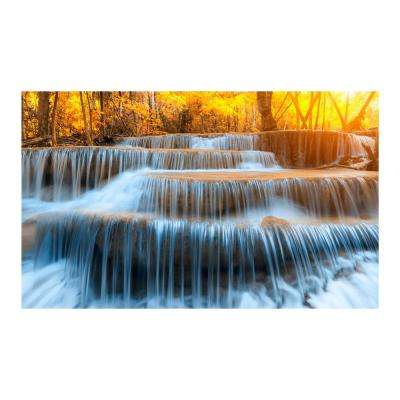"36 in. x 60 in. ""Autumn Waterfall"" Tempered Glass Wall Art"