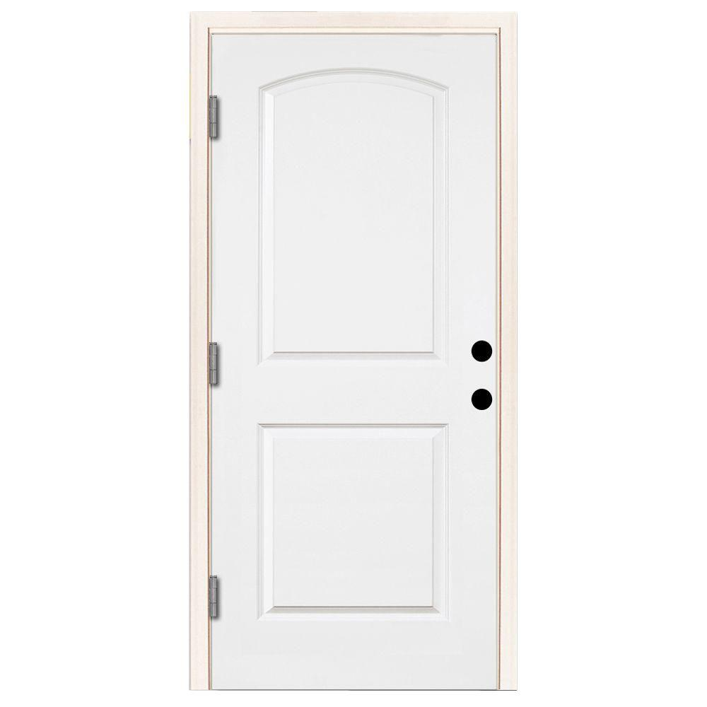 Steves & Sons 36 in. x 80 in. Premium 2-Panel Roundtop Right-Hand Outswing Primed White Steel Prehung Front Door with 6-9/16 in. frame