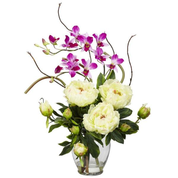 21.5 in. H White Peony and Orchid Silk Flower Arrangement 1175-WH