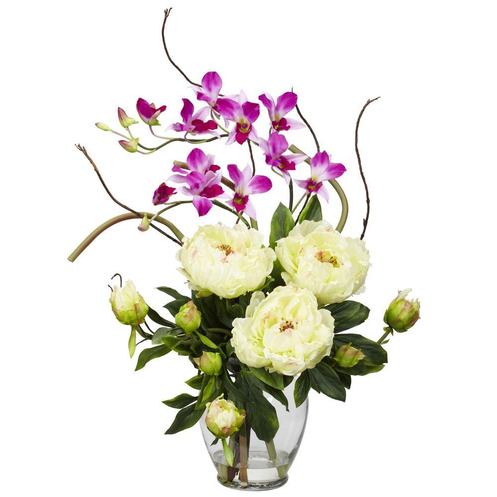 NEARLY NATURAL 21.5 in. H White Peony and Orchid Silk Flower Arrangement NEARLY NATURAL 21.5 in. H White Peony and Orchid Silk Flower Arrangement