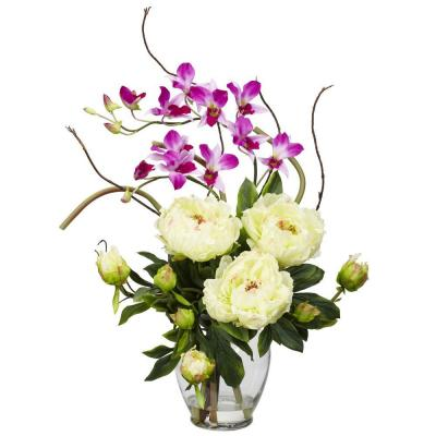 21.5 in. H White Peony and Orchid Silk Flower Arrangement