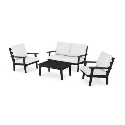 Grant Park Black 4-Piece Plastic Patio Deep Seating Set with White Cushions
