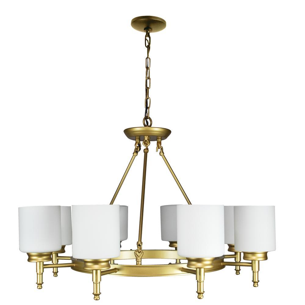 Antora 8-Light Vintage Gold Wagon Wheel Chandelier with Glass Shades