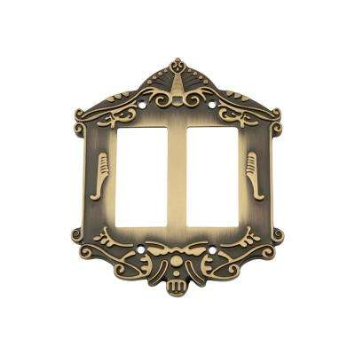 Victorian Switch Plate with Double Rocker in Antique Brass