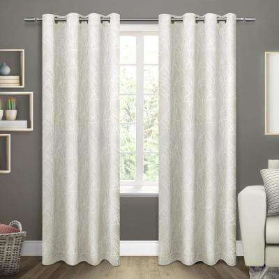 Twig 54 in. W x 96 in. L Woven Blackout Grommet Top Curtain Panel in Vanilla (2 Panels)