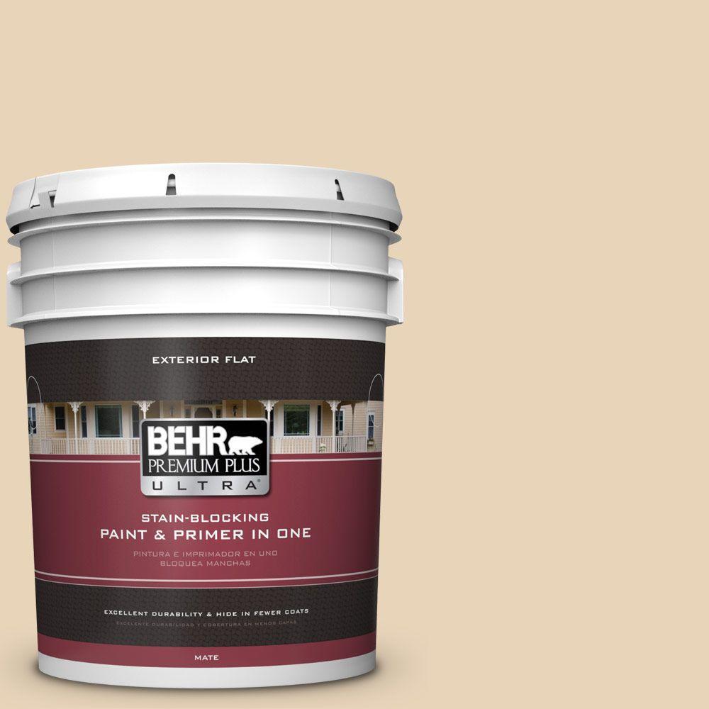 BEHR Premium Plus Ultra 5-gal. #PPU7-18 Sand Pearl Flat Exterior Paint