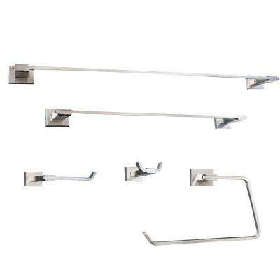Avalon Series 5-Piece Bath Hardware Set in Stainless Steel