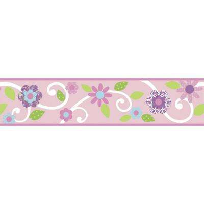 Pink/White Scroll Floral Peel and Stick Wallpaper Border