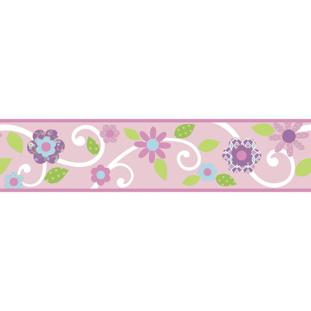 Roommates Pink White Scroll Fl L And Stick Wallpaper Border Rmk1457bcs The Home Depot