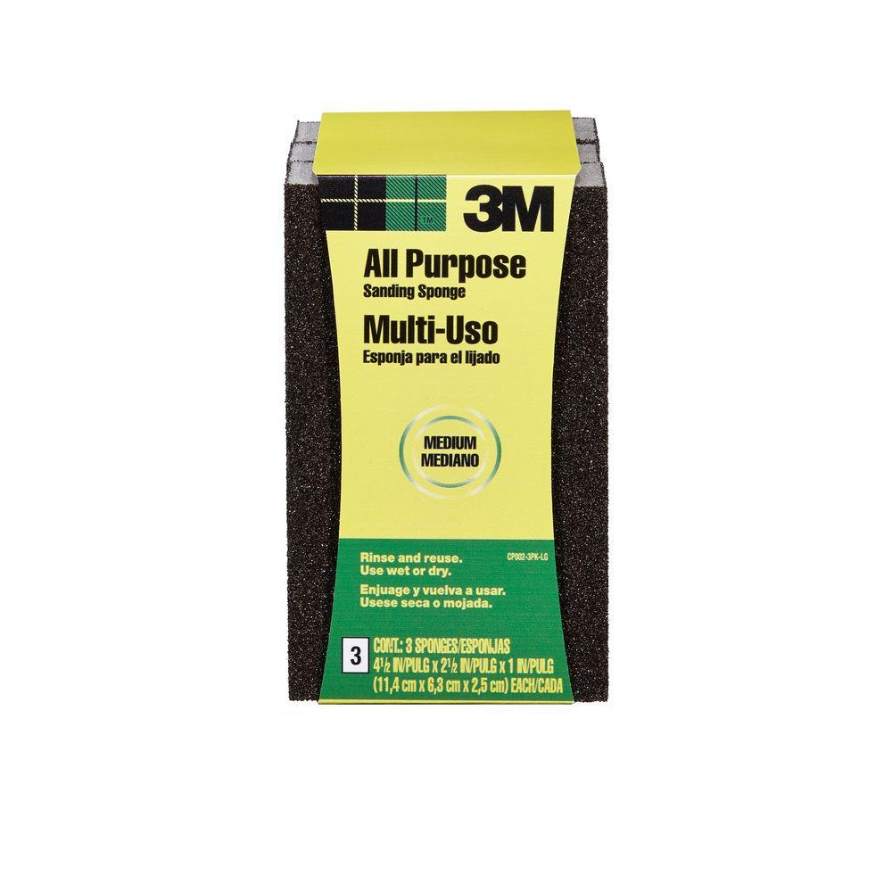3M 4.5 in. x 2.5 in. x 1 in. Medium-Grit Sanding Sponge (3 Sponge-Pack)