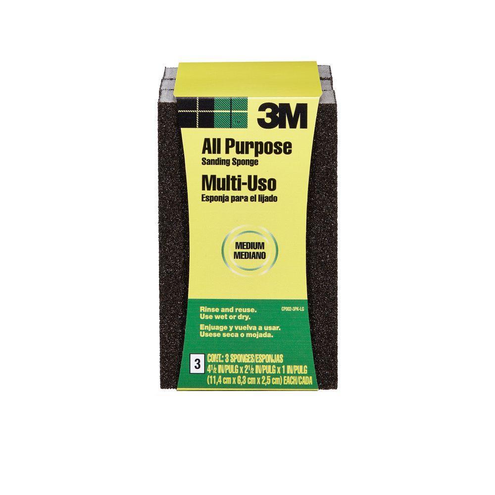 2.5 in. x 1 in. x 4.5 in. 80-Grit Sanding Sponge (3 Sponge-Pack)