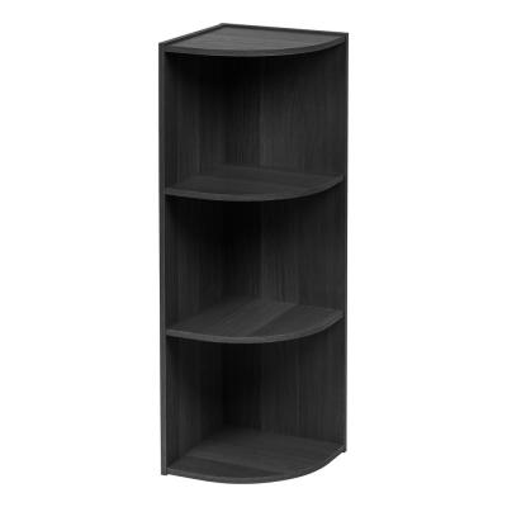 34.63 in. Black Faux Wood 3-shelf Corner Bookcase with Open Storage