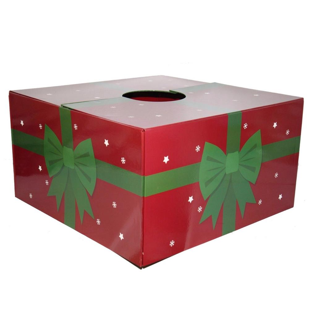 Dia Red With Green Ribbon Original Christmas Tree Skirt Box