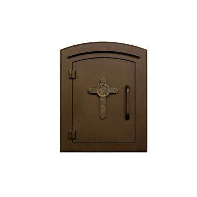 Manchester Bronze Column Mount Non-Locking Mailbox with Cross Logo