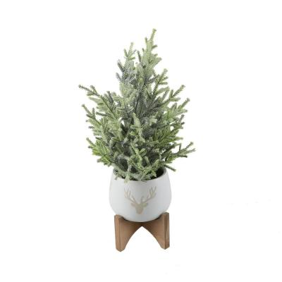 15.75 in. H Frosted Artificial Faux Chiristmas Tree in 5 in. Staghead Ceramic Pot on Wood Stand