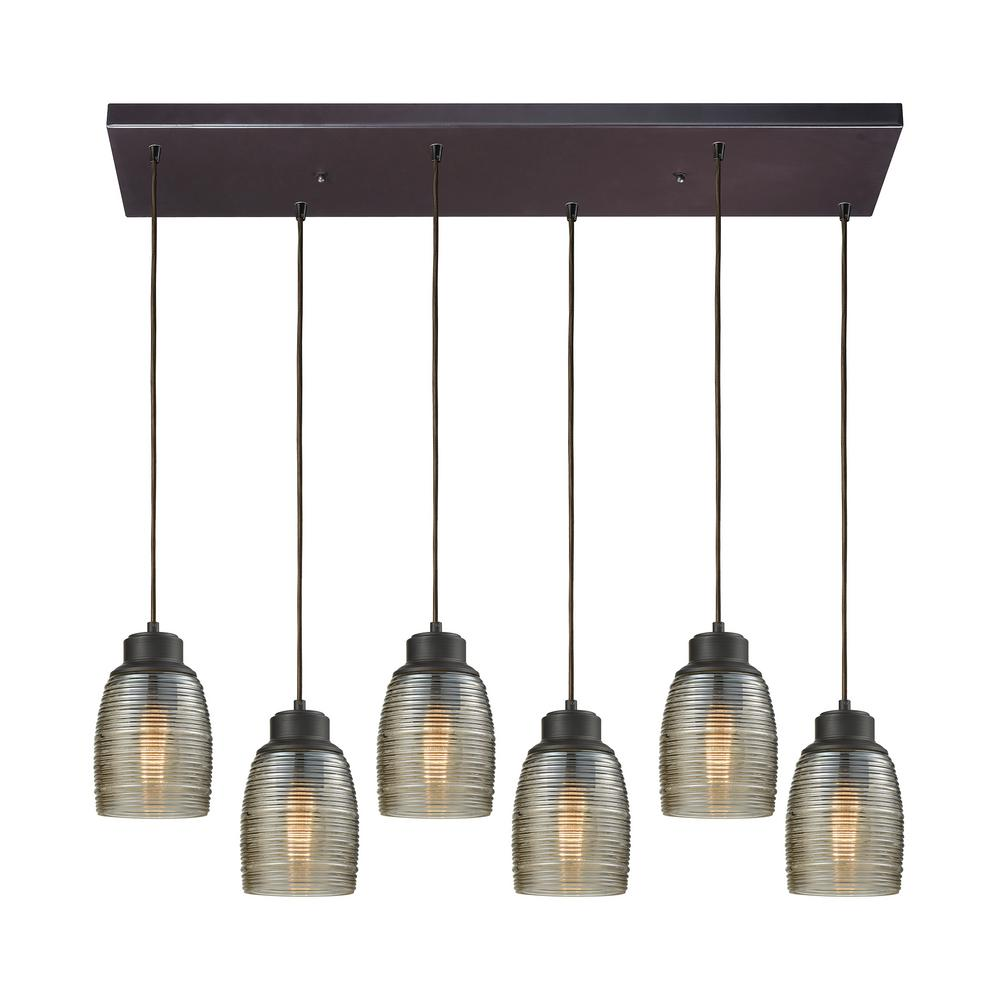 Titan Lighting Muncie 6-Light Rectangle in Oil Rubbed Bronze with Champagne Plated Spun Glass Pendant
