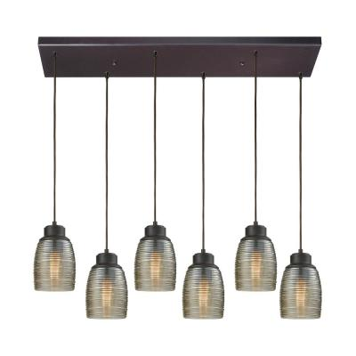 Muncie 6-Light Rectangle in Oil Rubbed Bronze with Champagne Plated Spun Glass Pendant