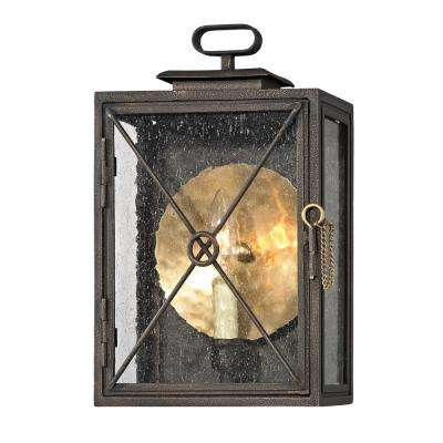 Randolph 1-Light Vintage Bronze 13.25 in. H Outdoor Wall Mount Sconce with Clear Seeded Glass