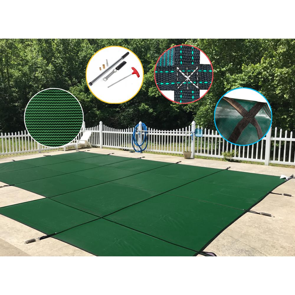 WaterWarden 20 ft. x 40 ft. Rectangle Green Mesh In-Ground Safety Pool Cover Right Side Step