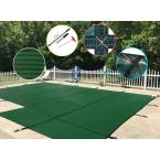 20 ft. x 40 ft. Rectangle Green Mesh In-Ground Safety Pool Cover Right Side Step