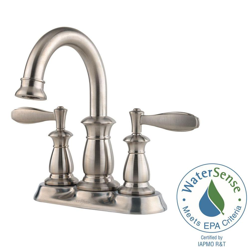 Pfister Serrano 4 in. Centerset 2-Handle Bathroom Faucet in Brushed ...