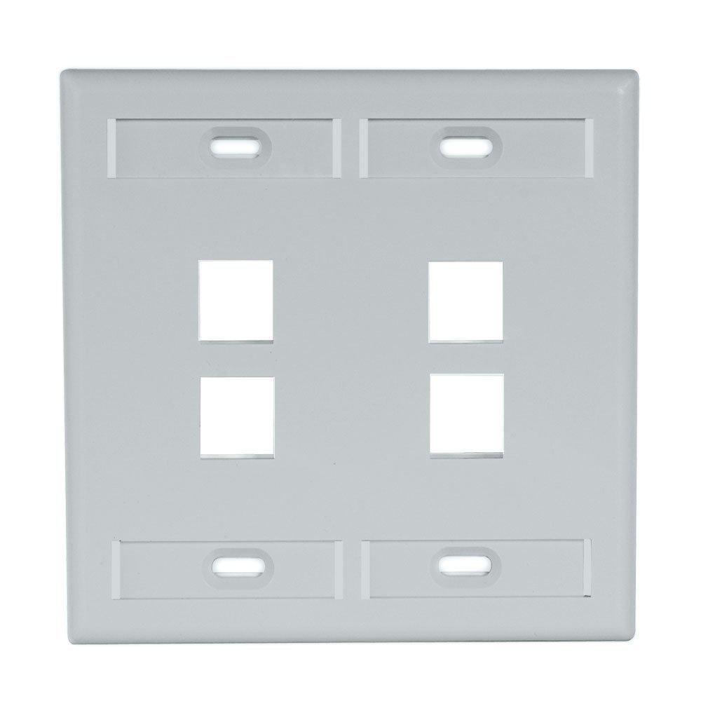 2-Gang Quickport Standard Size 4-Port Wallplate with ID Windows, Gray