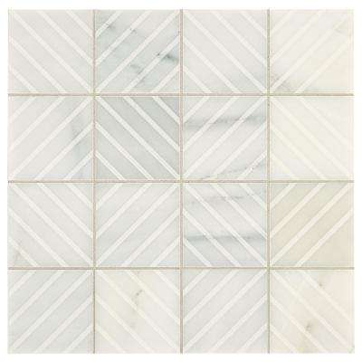 Premier Accents Bone White Engraved 12 in. x 12 in. x 8 mm Stone Mosaic Tile