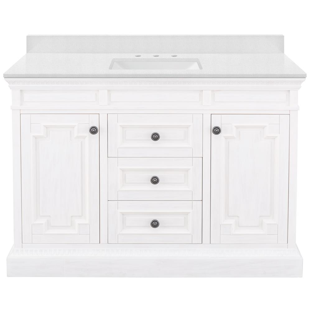 Home Decorators Collection Cailla 49 in. W x 22 in. D Bath Vanity in White Wash with Engineered Marble Vanity Top in Snowstorm with White Sink